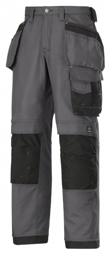 Snickers 3214 Canvas+ Craftsmen Holster Pocket Trousers (Steel GreyBlack)